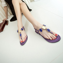Wholesale Lambdoid Flip Flop - New Korean brief large gem rhinestone lambdoid women's flip-flop shoes flat beaded flip diamond sandals