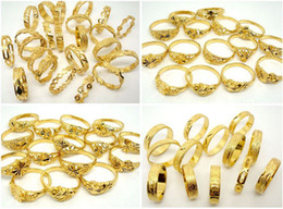 Wholesale Women Real Gold Rings - 10pcs lot mixed Beautiful High Quality Non-fading 24K Real Gold Plated Women Jewelery Rings Free shipping