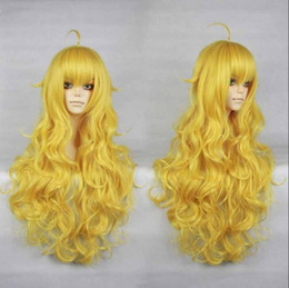 Wholesale Yellow Long Wigs - 100% free shipping New High Quality Fashion Picture wigs>>RWBY Yellow Trailer Yang Xiao Long curly yellow heat resistant cosplay wig 011D
