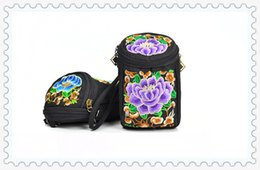 Wholesale National Direct - China traditional embroidery factory direct hand embroidery silk national package diagonal dual-use change mobile phone camera bag