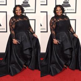 2019 vestido de tafetán alfombra roja 2018 Grammy Más el tamaño Vestidos formales Mangas largas Encaje Apliques Vestido de fiesta Joya Cuello Tren Tren Negro Noche Vestidos de fiesta de noche
