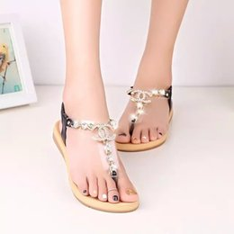 Wholesale Comfortable Fashion Heels - 2016 summer styles women sandals female channel rhinestone comfortable flats flip gladiator sandals party wedding