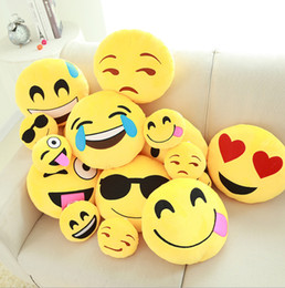 Wholesale Embroidered Pillows - Emoji poop Pillows skins 20styles diameter 35cm All styles CE Cushion Cute Yellow Plush Gifts,free shipping