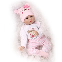 "Wholesale Girls Fashion Clothing China - 22""Soft Blue Eyes Pink Clothes Girl Newborn Doll Baby Doll Toy Girls Birthday Gift Reborn Baby Dolls with Magnet Pacifier"
