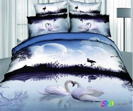 Wholesale Swan Duvet - Exports Swan animal 3D Reactive Printing Bedding Sets 100% Cotton 4pcs Quilt Duvet Cover Bed Sheet Pillowcase Comforter Sets