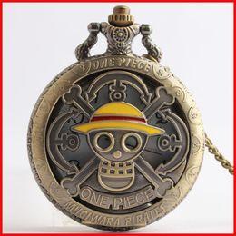 Wholesale One Piece Watch Luffy - One Piece Monkey D Luffy Pocket Watch bronze mugiwarn pirates necklaces locket Fob quartz Watches men women lovers fashion jewelry 230160
