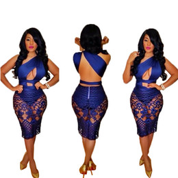 Wholesale Casual Bandage Dress - New 2016 Summer Style Women Lace Hollow Out Bandage Bodycon Dress Sexy Blue Sleeveless Club Party Midi Vestidos Femininos S-XL