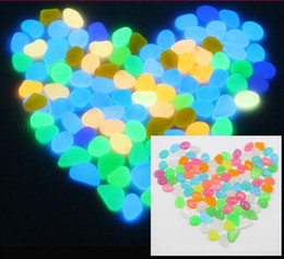Wholesale colorful fish tank decorations - Artificial Lightweight Luminous Pebble Stone For Home Fish Tank Decor Garden Corridor Decorations garden lawn colorful Night Lights stones