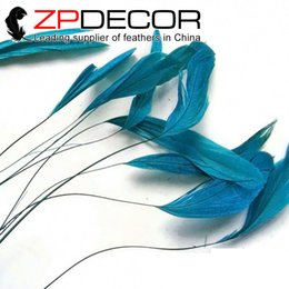 Wholesale Chicken Feathers For Sale - ZPDECOR 15-20cm(6-8 inch) Hand Select Dyed Turquoise Stripped Coque Chicken Rooster Tail Feathers Craft for Sale