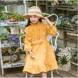 Wholesale Fashion Boutique Color Line - baby girl clothes Ruffle Long Sleeve princess dress Korean Children Autumn Dresses Fashion kids boutique clothing C2374