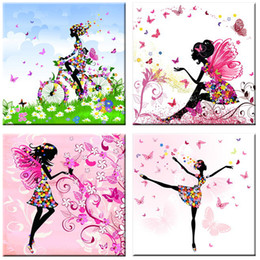 Wholesale Dancing Butterfly - Wall Art Pictures Frameless Oil Painting Dancing Girl Butterfly Wall Poster Canvas Art Home Decor Various Patterns to Choose Hot Sale