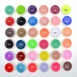 Wholesale Tips For Nail Art - Top Quality Nail Gel 36 Pure Colors Pots Bling Cover UV Gel Nail Art Tips Extension Manicure for Girls Nail Polish Finger Ink