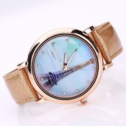 Wholesale Eiffel Watches - Luxury Brand Fashion Eiffel Tower Cute Leather Crystal Quartz Watch Women Ladies Wrist Watches Casual Woman Clock Gifts
