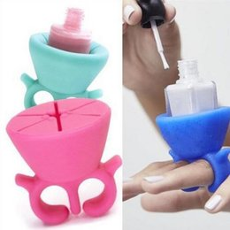 Wholesale Silicone Nail Art - 2016 Soft Silicone Finger Wearable Nail Gel Polish Bottle Holder 8 color Creative Nail Art Tools Polish Bottle Display Stand Holder