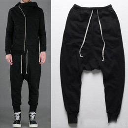 Wholesale Dance Harem Pants Zippers - mens new joggers Casual sports trousers harem pants men black fashion swag dance drop crotch hip hop sweat pants baggy sweatpants for