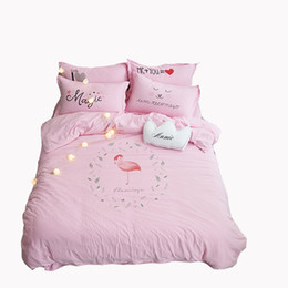 Wholesale King Comforter Sets For Cheap - Pink Flamingo Bedding Sets Twin Queen Size Cheap Washed Polyester Duvet Cover Sets Comfortable and Soft for All Seasons
