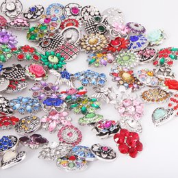 Wholesale Bangle Bracelets Jewelry Mix - Wholesale New 50PCS Lot High Quality Luxurious Rhinestones Snap Buttons Mixed Styles DIY Snaps Charms Jewelry Bracelet&Bangle S38