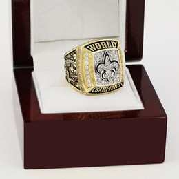 Wholesale Gold Stone Ring For Men - Sales Promotion 2009 New Orleans Saints Replica Super Bowl Championship Ring Replica copper Rings For Men high quality with wooden box