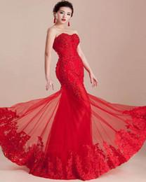 robe de mariée rouge Promotion Style populaire sirène chinois robes de soirée rouge sans bretelles en dentelle perlée longue robe De Noiva robes de mariée sur mesure E022 Top vente