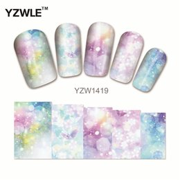 Wholesale polish tattoos - Wholesale- YZWLE 1Pcs Nail Art Water Sticker Nails Beauty Wraps Foil Polish Decals Temporary Tattoos Watermark(YZW1419)