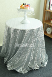 Wholesale Cheap Christmas Table Cloth - China Wholesale 90'' Round Silver Sequin fabric Table Cloth For Wedding Cheap Sequin Tablecloth Wedding Cake Table Cover Event Party Banquet