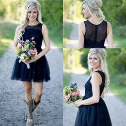 Wholesale Navy Blue Bridal Party - 2017 New Sexy Country Short Bridesmaid Dresses Navy Blue Jewel Neck Lace Appliques Beaded Plus Size Maid of Honor Bridal Wedding Party Gowns
