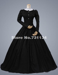 Wholesale Civil War Gowns - 2016 Elegant Black Classical Long Sleeve Vintage Renaissance Gothic Victorian Dress Civil War Victorian Ball Gowns