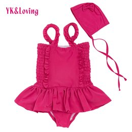 Wholesale Girl S One Piece Dresses - Suspender Dress Baby Girl Clothing for Bathing Suit with Hat Kids Summer Swim Clothing Swimsuit 3 Color Sling Children Swimming Dress 1-6t
