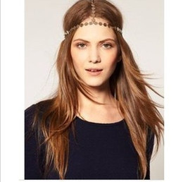 Wholesale Disc Headdress - 2017 Hot Disc Coin Crown Hair Cuff Wrap Headband Headwrap Headdress Boho Punk Hippy Chain