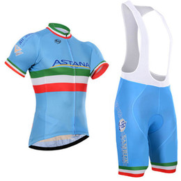 Wholesale Astana Cycling Team - New Pro Team astana cycling jerseys short sleeve shirt and cycling bib   shorts suits Quickdry men tour de france Bicycle sports wear C1603