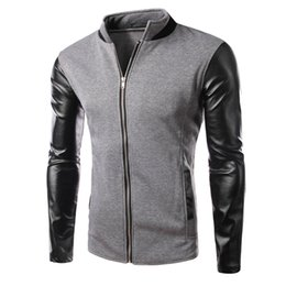 Wholesale Mens Leather Baseball Jackets - Winter Cool College Baseball Jacket Men Fashion Design Black Pu Leather Sleeve Mens Slim Fit Jacket Gray