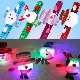 Wholesale Cheap Glowing Toys - LED Light Glow Christmas Toys Slap Circle Bracelet Bangle Wrist Band for Party 2017 Cheap Promotion Christmas Gifts