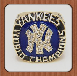 Wholesale Men Ring Design Stone - Bottom Price For Replica Newest Design 1977 Yankees Major League Baseball Championship Ring Replica Gold Plated Alloy Rings For Men