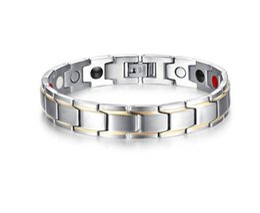 Pulseira de homem on-line-12mm men titanium terapia magnética pulseira elemento ímãs alívio para artrite dor encantos pulseira de prata pulseira de ouro b863s