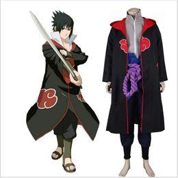 Wholesale Man S Robe - Woman Man Anime Naruto Cosplay Costume Cloak Akatsuki Uchiha Sasuke Cosplay Halloween Party Costume Hooded Robe S-XXL