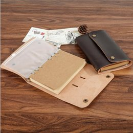 Wholesale High Quality Ring Binders - Wholesale- 2017 HIGH QUALITY Vintage PU Genuine Leather Travel Journal Notebook Spiral Diary notepad 6 ring binder string stationery 01711