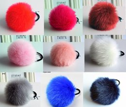 Wholesale Green Pearl Rings - Korean Artificial Rabbit Fur Ball Elastic Hair Rope Rings Ties Bands Ponytail Holders Girls Hairband Headband Hair Accessories 200pcs