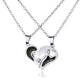 Wholesale Heart Shape Couple Necklace - Men's Women's Lover Couple I Love You Alloy Rhinestone Heart Shape Pendant Choker Chain Necklace 12PCS LOT