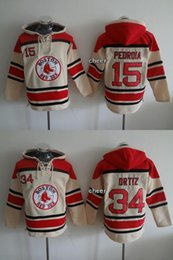 Wholesale Drop Stops - Factory Outlet Boston Red Sox 34 David Ortiz 15 Dustin Pedroia beige Best Hot Sale Cheap Baseball Hoodies Jersey Top Quality Drop Shipping