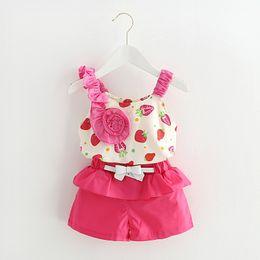 Wholesale Girls Mandarin Top - Kids clothes sleeveless strawberry flowers Sling clothing set summer style children clothing top+short pants 2 pcs 4 s l