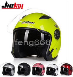 Wholesale half face motorbike helmets - JIEKAI summer Half face motorcycle helmet JK512 dual lens half cover electric bicycle motorbike helmets Seasons made of ABS have 10 Colors