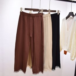 Wholesale Pleated Wool Pants - New design women fashion pants Wide Leg loose capris tassels elastic waist casual trousers for lady