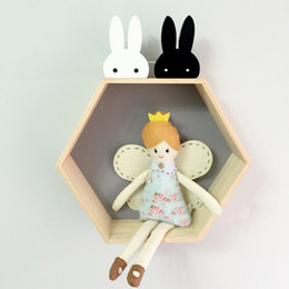 Wholesale Wooden Hangers Baby Children Kids - Wholesale- Cute Bunny Wooden Clothes Hooks Kid Room Decoration Rabbit Hook Baby Child Room Eco-friendly Wall Hanger Hooks DIY