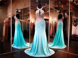 Wholesale Shiny Black Stone - Aqua Chiffon Halter Neckline Heavy Shiny Crystals Mermaid Prom Dress Keyhole Front AB Stones Beading Evening Dress Pageant Dress
