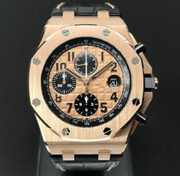 Ouro rosa offshore on-line-O envio gratuito de Alta Qualidade Offshore 18 k Rose movimento de quartzo de ouro Mens Relógio De Pulso De Luxo Mens Sports Data Relógios