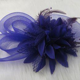 Wholesale Silk Mini Flower Heads - Bridal Headwears Wedding Bridal Hair Accessories Flower Feather Tulle Birdcage Veil Headpiece Head Veil Mini Wedding Bride Hat