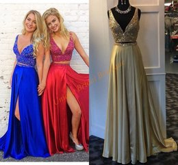 Wholesale Custom Made Dance Dresses - Two-Pieces Prom Dresses 2017 with High Split and Deep V-Neck Bling Bling Crystals Royal Blue Satin A Line Ring Dance Gowns Custom Made