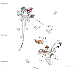 Wholesale pink flower stickers - Creative wall stickers romantic bedroom living room mirror beautiful flowers gold silver new 2016 European and American fashion