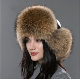 Wholesale Leather Ushanka Hat - 05Women's fur hat for winter genuine leather fur tapper hat with fur pom pom ear protect bomber hats Russian Ushanka caps