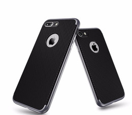 Wholesale Hybrid House - hybrid armor Carbon Fiber Texture Cases For iPhone 7 7 Plus PC frame+TPU Silicone Back Cover phone Housing